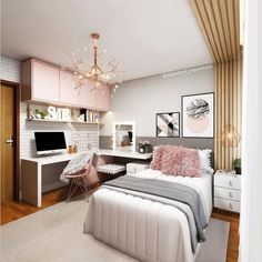 Do not panic, we give you some tips for a small bedroom with… Continue Reading → Study Room Decor, Home Room Design, Bedroom Makeover, Room Design Bedroom, House Rooms, Stylish Bedroom, Small Room Bedroom, Room Decor Bedroom, Aesthetic Bedroom