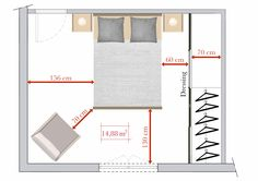bonne circulation volumes chambre Plus Bedroom Layouts, House Layouts, Home Bedroom, Bedroom Decor, Master Bedroom Addition, Bedroom Dimensions, Hotel Room Design, Suites, Home Staging