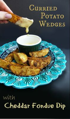 Spicy curried Potato Wedges with the simplest cheddar and cider fondue ...