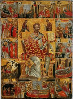 Nicholas the Wonderworker, with scenes from his life (Full of Grace and Truth: St. Nicholas feeds the Athonite Fathers during the Fascist Occupation Religious Images, Religious Icons, Religious Art, Byzantine Art, Byzantine Icons, Greek Icons, Christian Artwork, Russian Icons, Saint Nicholas