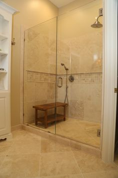Travertine Shower with Linear Drain