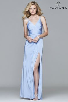 Peri faille satin v-neck evening dress with draped front and skirt with high slit | Faviana Style 7755
