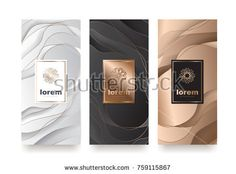 Vector set packaging templates with different texture for luxury products.logo design with trendy linear style. Packaging, Different Textures, Free Stock Photos, Free Images, Templates, Luxury, Logo Design, Illustration, Style