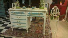 "Aqua and white French provincial desk  42"" wide, 30"" high, 17"" deep  $210"