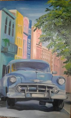 """oil paiinting, """"Baby Blue in Cuba"""""""