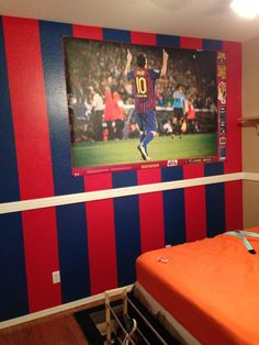 Barcelona soccer painted wall for my son #LeoMessi10