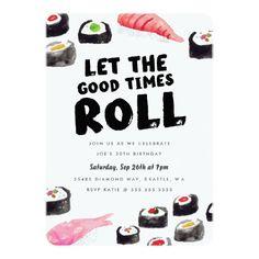 Sushi Birthday Party 5x7 Paper Invitation Card