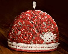 """A Pot of Tea"" Cozy by PatchworkPottery - This is so creative! Love the ""steam"" coming out of the teapot!"