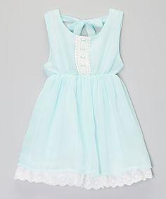 Aqua & White Crocheted Overlay Dress - Toddler & Girls | zulily