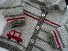 Eu que Fiz - Vovó Baisa: Casaquinho de tricô -  listras e carrinho