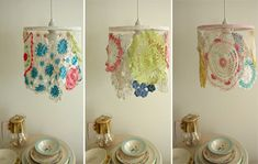 Dishfunctional Designs: Vintage Lace & Doilies: Upcycled and Repurposed Love the idea for a shabby make over in little girls room Doilies Crafts, Lace Doilies, Crochet Doilies, Doily Lamp, Lace Lamp, Crochet Lamp, Crochet Motifs, Vintage Lace, Upcycled Vintage
