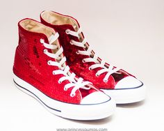 be438988a8f Sequin Customized Red Converse Canvas Hi Top Sequin Converse