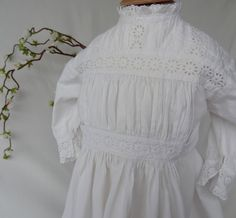 Victorian Cotton Christening or Baptism Gown, full length, excellent condition.  By Lilys Vintage Linens on Etsy, specialist in white fabric antiques.