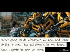 Bumblebee's goodbye to Sam. Transformers 3