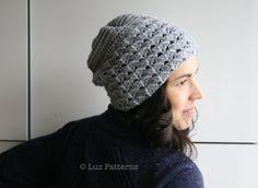 Crochet Patterns, slouchy hat crochet women beanie pattern by Luz Patterns #crochetpattern #crochet