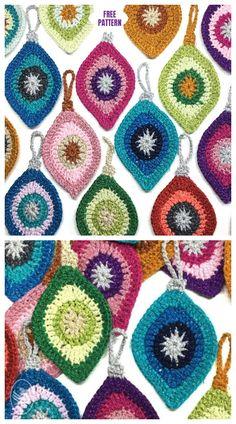 Crochet Christmas Appliques Tutorials 22 New Ideas Crochet Christmas Decorations, Crochet Ornaments, Christmas Knitting Patterns, Holiday Crochet, Crochet Snowflakes, Crochet Gifts, Crochet Yarn, Free Crochet, Crochet Bunting Free Pattern