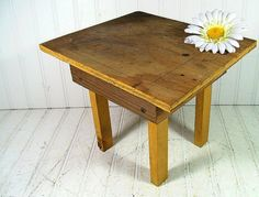 Primitive Wooden Footstool  Vintage Handcrafted by DivineOrders, $12.00