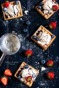 Waffles, composition, strawberry, food photography