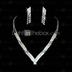 Gorgeous Czech Rhinestones Alloy Plated Wedding Bridal Jewelry Set,Including Necklace And Earrings