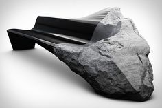 Peugeot Onyx Sofa is made out of lacquered black carbon fiber that's been fused…