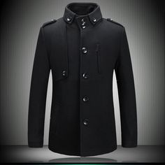 High quality Western winter 2013 men's top stylish pea coat Single-breasted stand collar jackets and coats for men Indian Men Fashion, Mens Fashion, Fashion 2016, Red Dresses For Sale, Mens Winter Coat, Winter Overcoat, Business Outfits, High Collar, Military Fashion