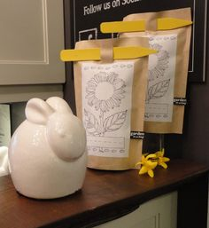 Bunny sculpture & Sunflower bag planters. At Endless Ideas we carry several unique lines of accessories, gifts and tableware.  #EndlessIdeas