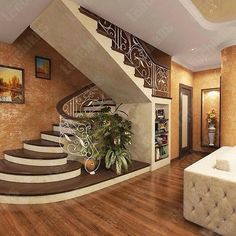 Pin For Trend Presented Best Hallway Interior Staircase Ideas That You Must Love - House Design & Mortgage Ideas 2019 (Mortgage Tips & Insurance Ideas) Stair Railing Design, Home Stairs Design, Interior Staircase, Home Room Design, Home Interior Design, Staircase Ideas, Modern Interior, House Front Design, Modern House Design