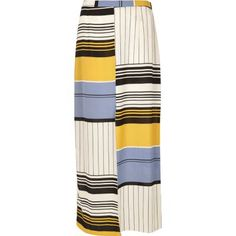 I'm shopping Blue stripe split front maxi skirt in the River Island iPhone app.