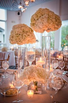 floating candles and floral center pieces