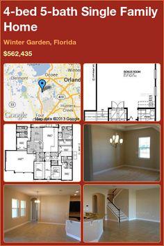 4-bed 5-bath Single Family Home in Winter Garden, Florida ►$562,435 #PropertyForSale #RealEstate #Florida http://florida-magic.com/properties/9781-single-family-home-for-sale-in-winter-garden-florida-with-4-bedroom-5-bathroom