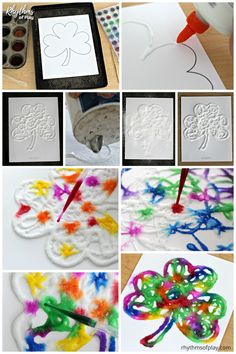 Easy Saint Patrick\'s Day art craft for kids! Making a rainbow watercolor raised salt paint shamrock is an easy art project for kids. Preschoolers, kindergartners, and elementary kids will enjoy the painting technique used to create this fun St. Patrick\'s Day craft. Try it today! #shamrock #artprojectsforkids #artforkids #kidsart #saintpatricksday #stpatricksday #craftsforkids #kidscrafts