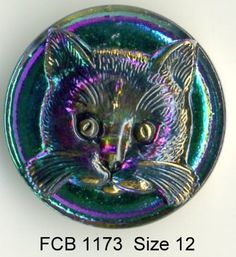 Cat button iridescent green Czech glass with clear cat   - size 12, 27 mm FCB 1173 by buttonsandshanks on Etsy