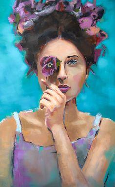 Flower Crown Art - See Prints Flower Crown Girl with flower over eye - Crown Painting, Blue Painting, Oil Painting On Canvas, Art Violet, Purple Art, Crown Art, Girls With Flowers, Arte Floral, Colorful Paintings