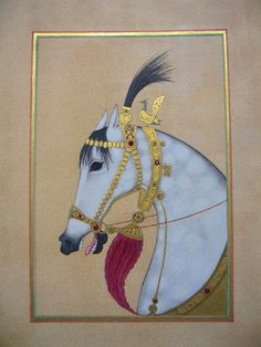 Miniature painting of a Persian horse in hand made watercolour paints, with shell gold, emeralds and rubies on tea stained wasli paper. https://www.facebook.com/IslamicOttomanAstrology/photos/a.437322256317833.114998.437194519663940/685030968213626/?type=3