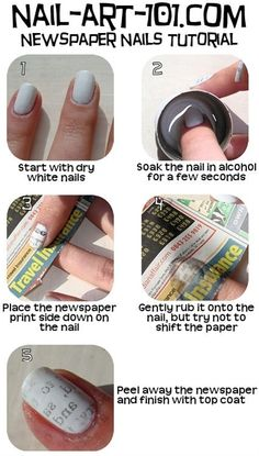 Newspaper Nails Tutorial - I love these! I've seen these on Pinterest for awhile now and oh my god... Amazing!!