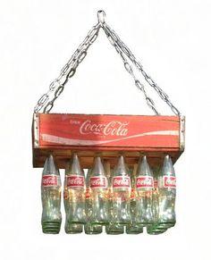 Coca Cola Lamp - Ideas on Foter Glass Coke Bottles, Coca Cola Bottles, Coke Bottle Crafts, Coke Crate Ideas, Coca Cola Decor, Coca Cola Kitchen, Always Coca Cola, Recycled Bottles, Bottle Art