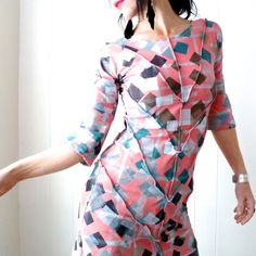 Wishful Thinking - iheartfink Handmade Hand Printed Womens Fitted Geometric Art Print Chevron Stripes Dress on Etsy, $325.00