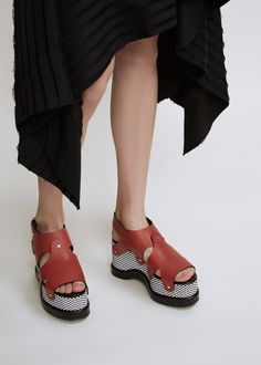 Proenza Schouler Checkerboard Platform Sandal (Red / Black / White)