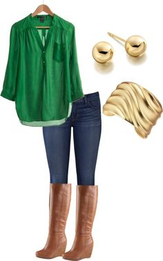 Fall outfit idea - brown wedge boots, emerald green shirt and skinny jeans.
