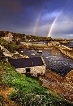 Ballintoy Harbor, Northern Ireland - Beautiful double rainbow #IrelandLandscape