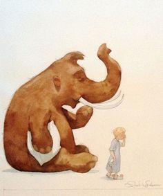 by Quentin Greban Elephant Illustration, Children's Book Illustration, Art Fantaisiste, Fairytale Art, Elephant Art, Expositions, Animals Images, Whimsical Art, Animals Beautiful