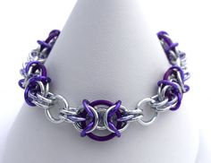 Purple and Silver Anodised Aluminium Chainmaille Bracelet