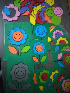 Bloemen versieren met opdrachtkaarten, leg de bloem na *liestr*