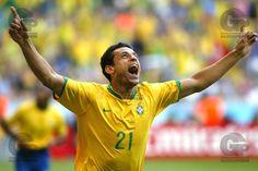Fred, da Seleção Brasileira, comemora seu primeiro gol em Copas do Mundo, o Brasil venceu por 2x0, com gols de Adriano e Fred. - Allianz Stadium - Munique - Alemanha - 18/06/2006