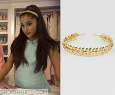 Chanel #2 (Ariana Grande) wears this gold grecian headband in this week's episode of Scream Queens.