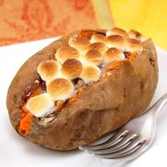 This was so smart. Just sprinkle a little brown sugar and top with some marshmallows, and it tastes like Thanksgiving. (stuffed sweet potatoes)