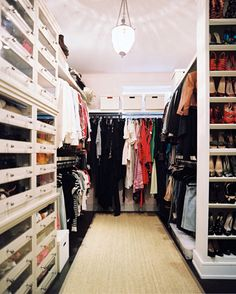 organizing - I like how the shoe storage is tucked at the end of double hanging space  - great way to get lots of shoe storage in a very narrow space