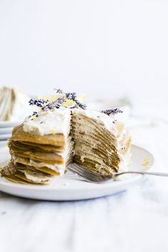 Lemon Lavender Crepe Cake | Lavender-flavored crepes stacked on top of one another and filled with a honey-flavored icing | #dairyfree | thealmondeater.com