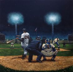 Willie Mays cracks a homerun at Jersey City's Roosevelt Stadium by artist Paul Lempa Baseball Painting, Baseball Art, Dodgers Baseball, Baseball Players, Baseball Tattoos, Sports Images, Sports Art, Sports Posters, Mlb