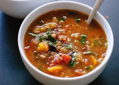 A delicious healthy soup that is very nutritious! A delicious healthy soup that is very nutritious! Vegan Lentil Soup, Lentil Soup Recipes, Lentil Salad, Pureed Food Recipes, Veggie Recipes, Healthy Recipes, Meatless Recipes, Clean Eating Soup, Clean Eating Recipes
